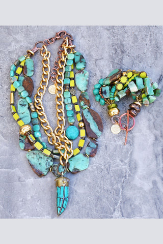Stunning Green Amazonite, Lime Green Glass and Gold Statement Jewelry