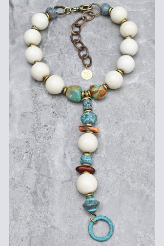 Vintage White Lucite, Turquoise, Verdigris Copper & Wood Collar Y Necklace