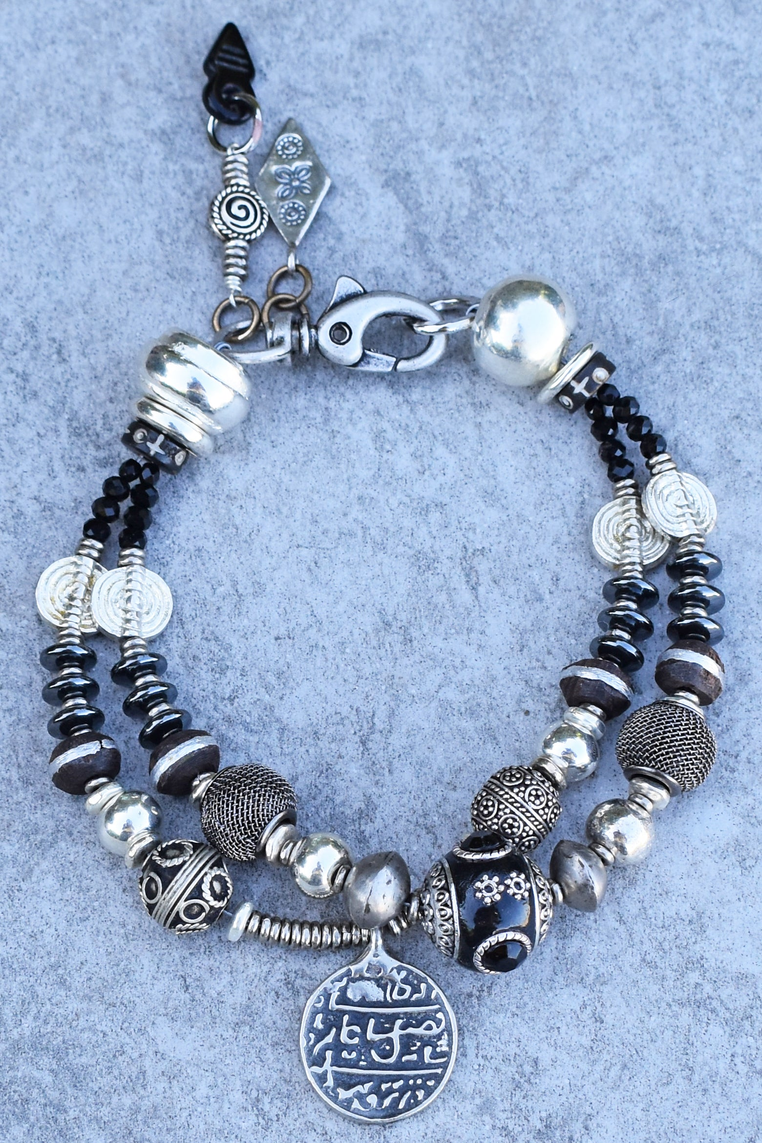 Custom Designed Fun Black, Gray and Silver Heavy Metal Charm Anklet