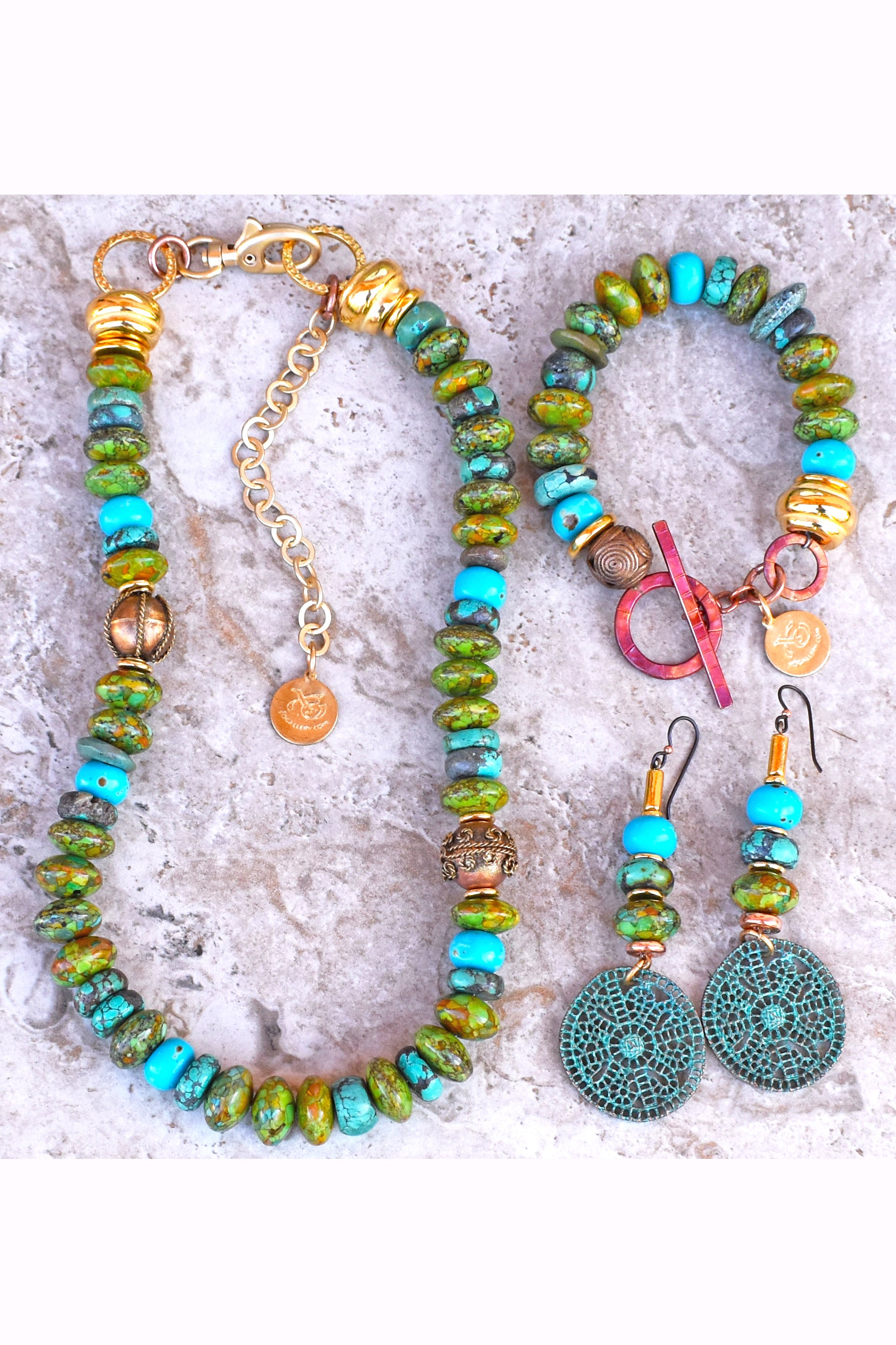 Gorgeous Mosaic Green Turquoise, Gold and Copper Statement Jewelry Set
