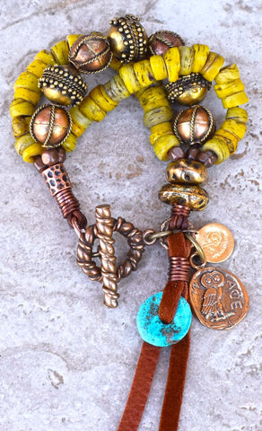 Exotic Tribal Style Ancient Yellow Glass and Exotic Copper and Brass Charm Bracelet