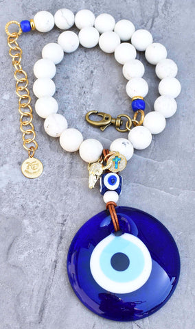 Greek Inspired White and Cobalt Blue Evil Eye Necklace with Bull Skull and Cross