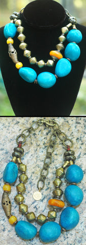 Bold Turquoise Blue Tagua Nut Tribal Statement Necklace