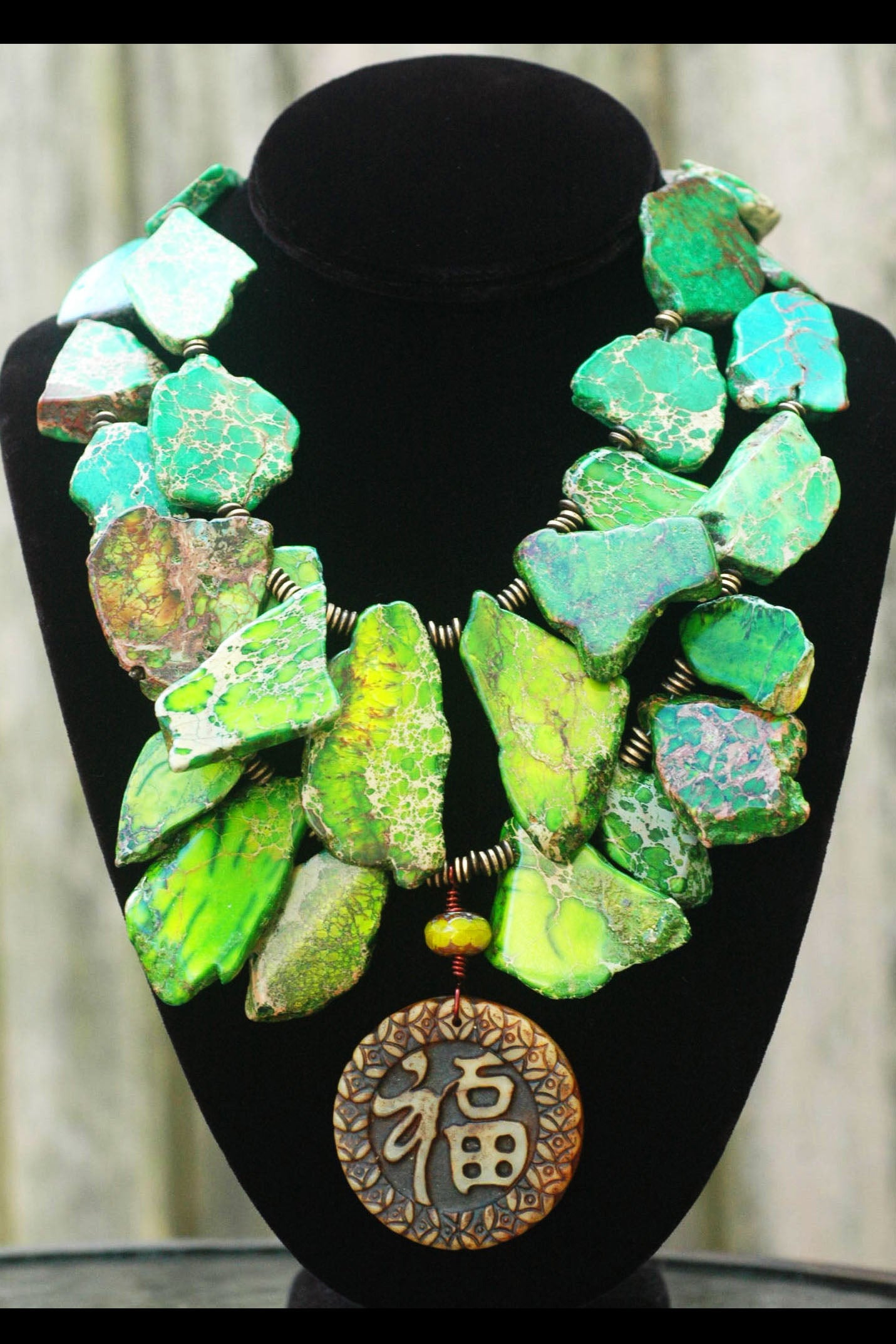 Riveting Imperial Green Jasper Slab & Chinese Amulet Statement Necklace