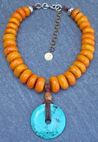 Custom Ethnic Berber Amber Resin and Turquoise Disc Statement Necklace $225