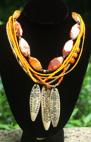 Orange Fire Agate, Glass & Camel Bone Tribal Warrior Pendant Necklace