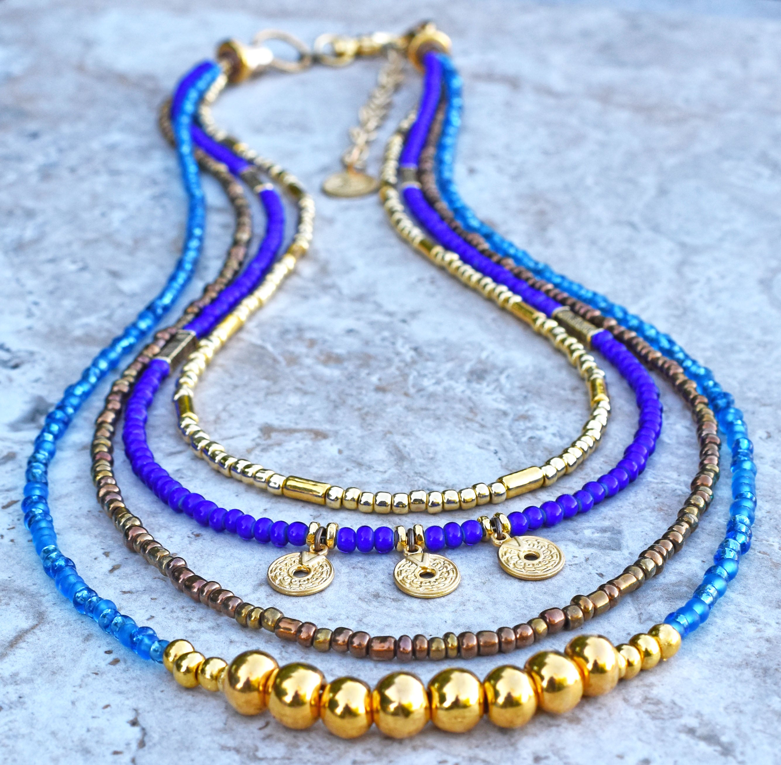 Must Have Blue and Gold Holiday Resort Summer Island Wear Anywhere Necklace $195