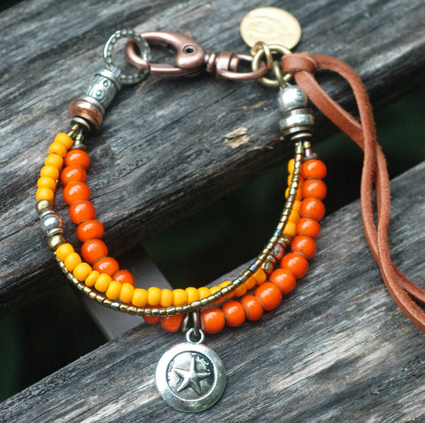 Orange and Silver Star Charm Everyday Friendship Bracelet