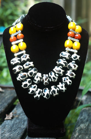 Exotic Giraffe Print, Orange, Yellow & Silver Tribal Statement Necklace