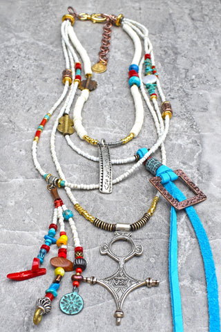 Summer White Southwest Boho Chic Long & Layered Tuareg Cross Necklace