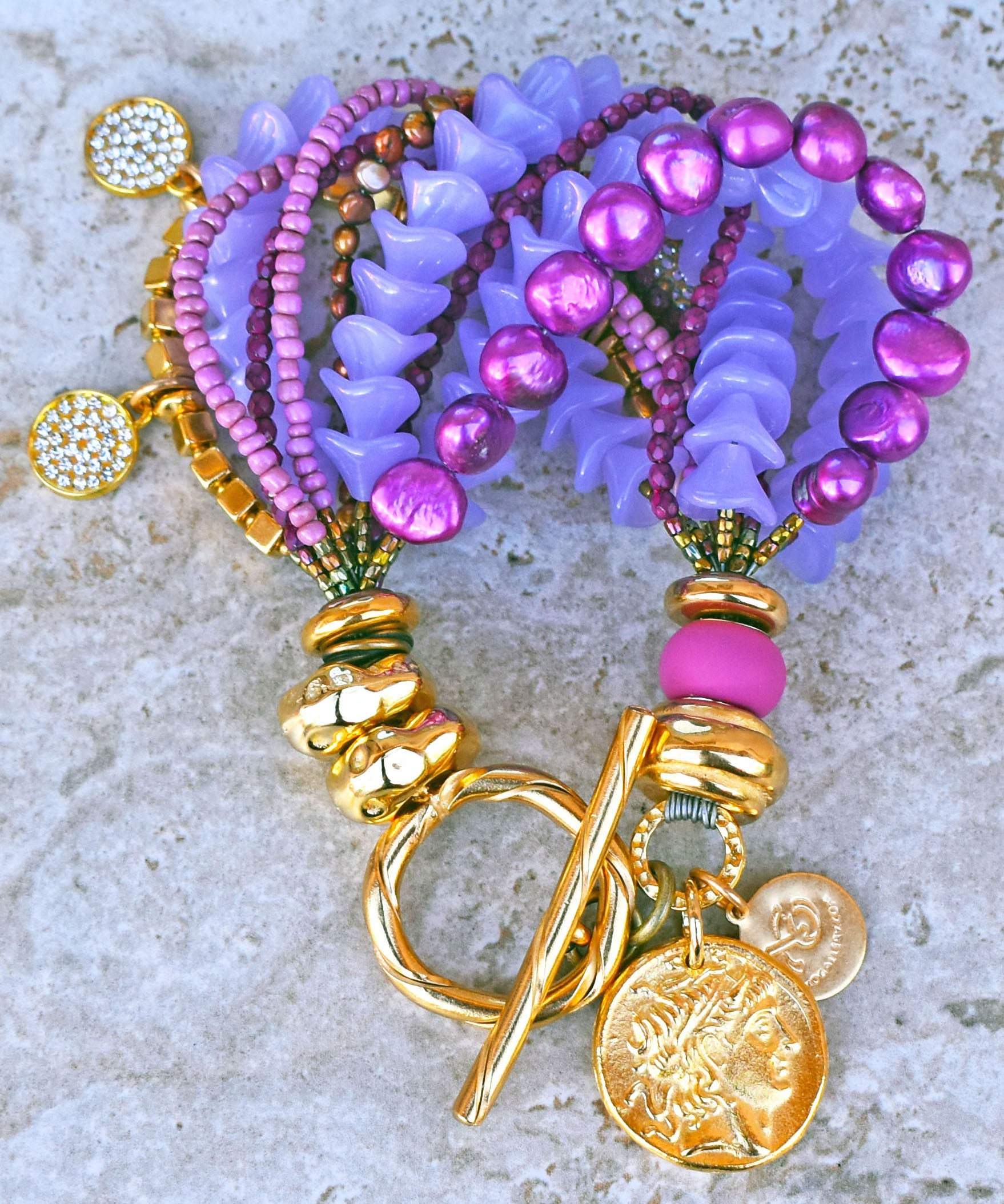 Elegant Lavender, Purple and Gold Rhinestone Coin Statement Bracelet