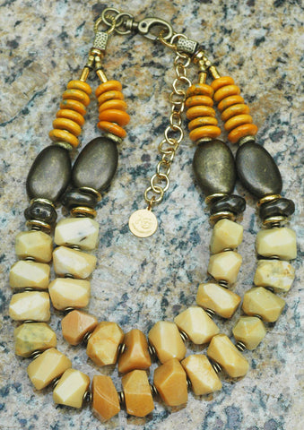 Custom Jewelry: Honey Gold Jade, Amber and Bronze Statement Necklace