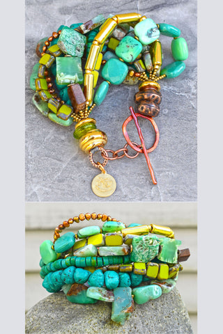 Stunning Green Amazonite, Chrysoprase, Moss Opal, Turquoise, Lime and Gold Statement Bracelet $200