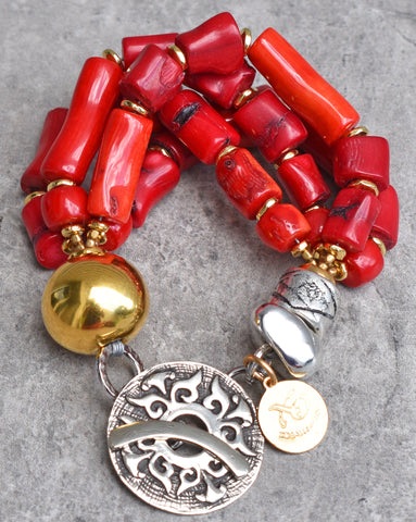 Designer Chunky Red Coral Nugget, Gold and Silver Statement Bracelet