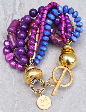 Gorgeous Purple, Magenta, Periwinkle and Gold Statement Bracelet