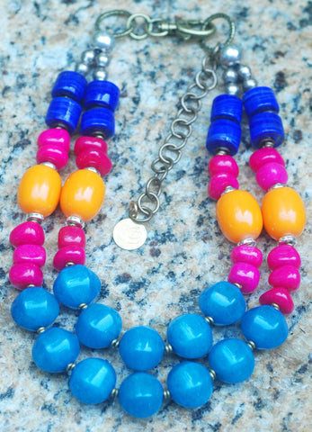 Gypsy Inspired Vibrant Lapis, Blue, Pink and Yellow Statement Necklace