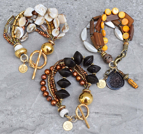 3 gorgeous summer bracelets: champagne, black & gold and Sand