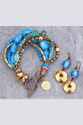 Turquoise and Gold Resort Style Bracelet and Earrings Set