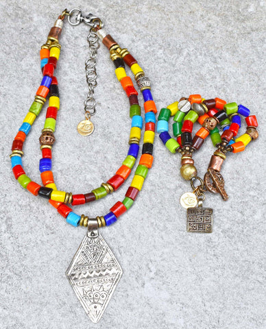 Happy and Colorful Tibetan Glass ARABIAN DREAMS Necklace and Bracelet