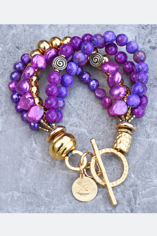 Vibrant Customized Purple and Gold Perfect for Spring Bracelet $125