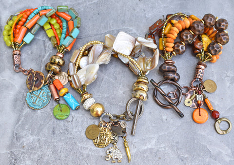 Fun Custom Redesigned Bracelets with lots of Charms and soul!