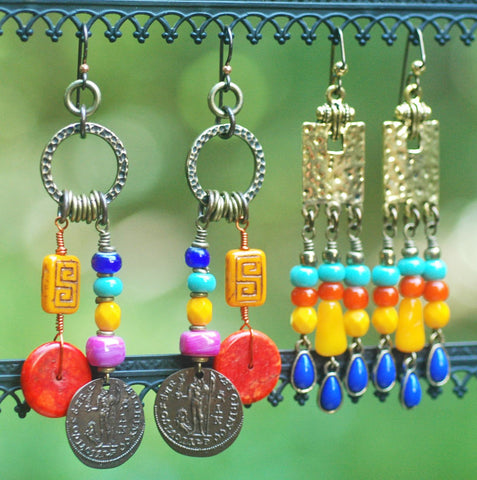 Gypsy Hippie Bohemian Colorful Dangle Statement Earrings