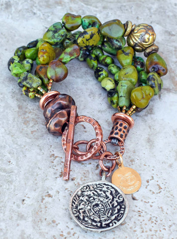 Another Gorgeous Lush Green Turquoise, Copper & Tibetan Charm Bracelet $195