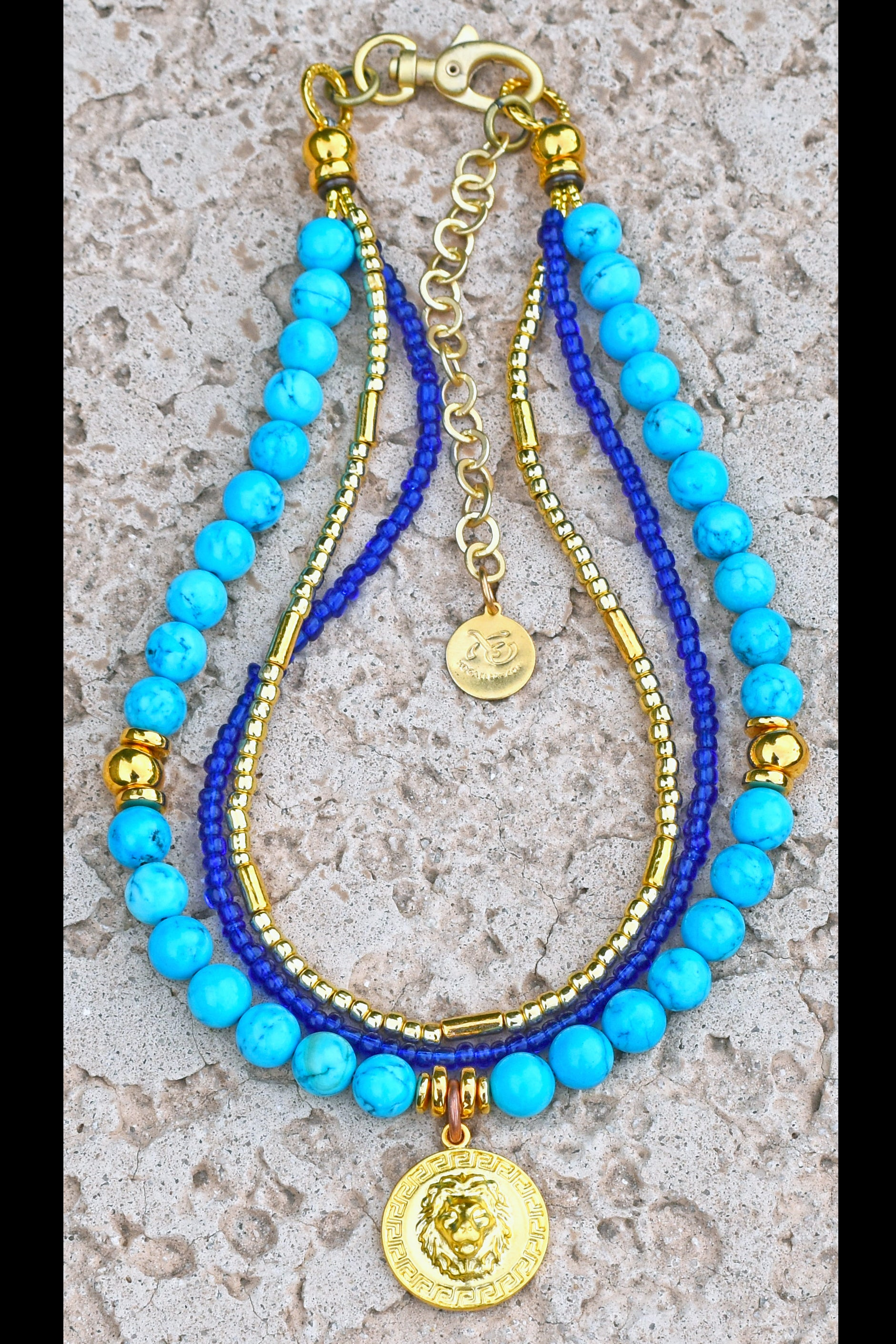 Greek Island Inspired Turquoise, Cobalt & Gold Lion Head Coin Necklace