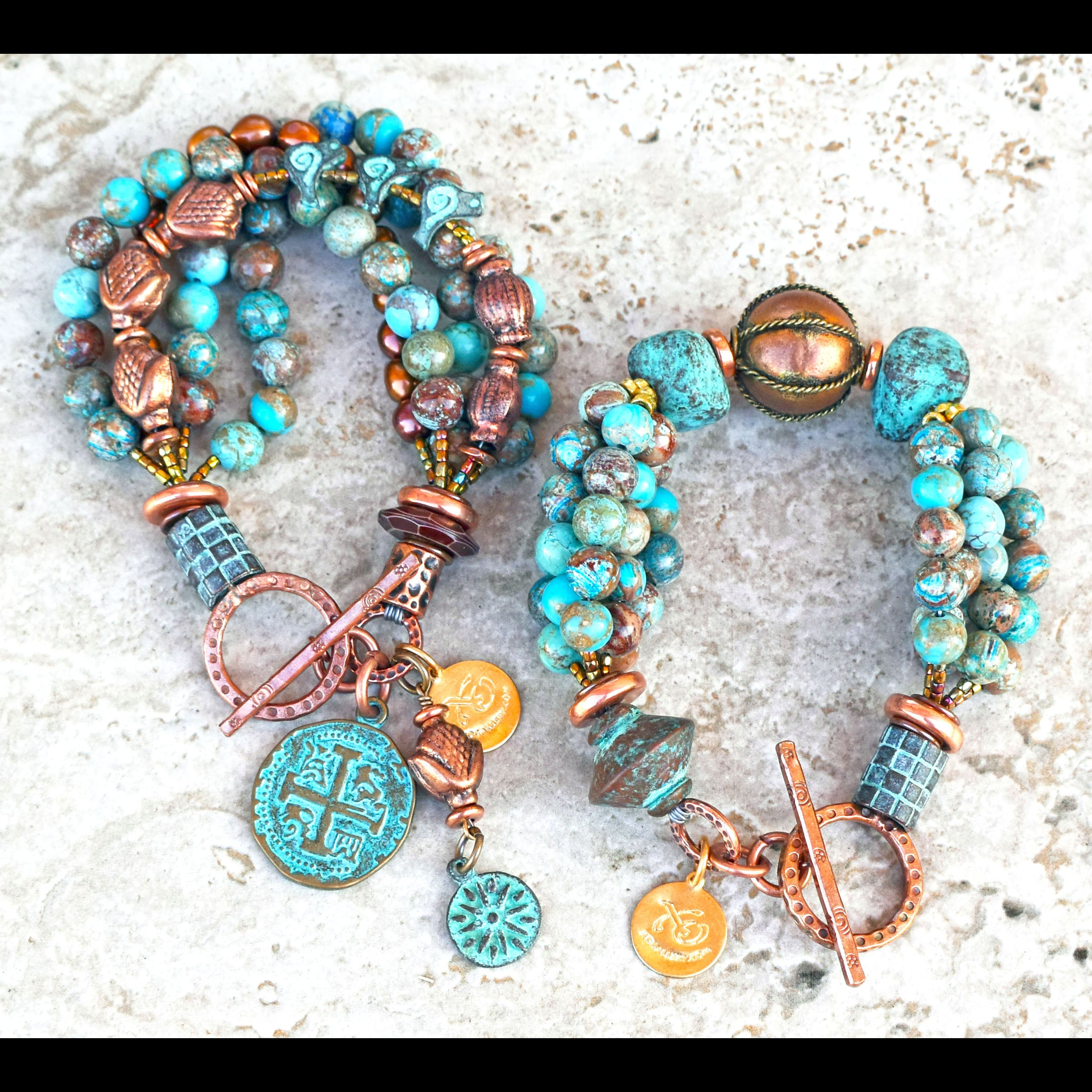 Beautiful Blue and Brown Jasper, Verdigris Clay and Copper Bracelets