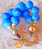 Chunky Vintage Persian Blue Faience Donkey Bead and Gold Bracelet