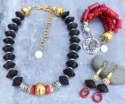 Gorgeous and Elegant Black Wood, Gold, Silver and Red Coral Jewelry
