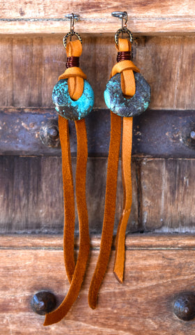 Bohemian Western Turquoise Disc and Long Suede Shoulder Duster Earrings $75