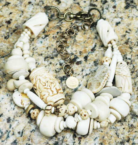 Beautiful & Bold Mixed Bone Bead Chunky Collar Statement Necklace