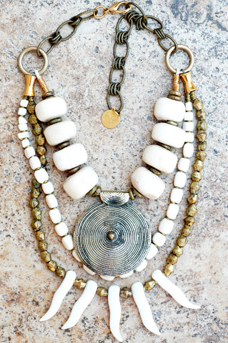 Bold African Bone and Brass Shield Pendant Fringe Warrior Necklace