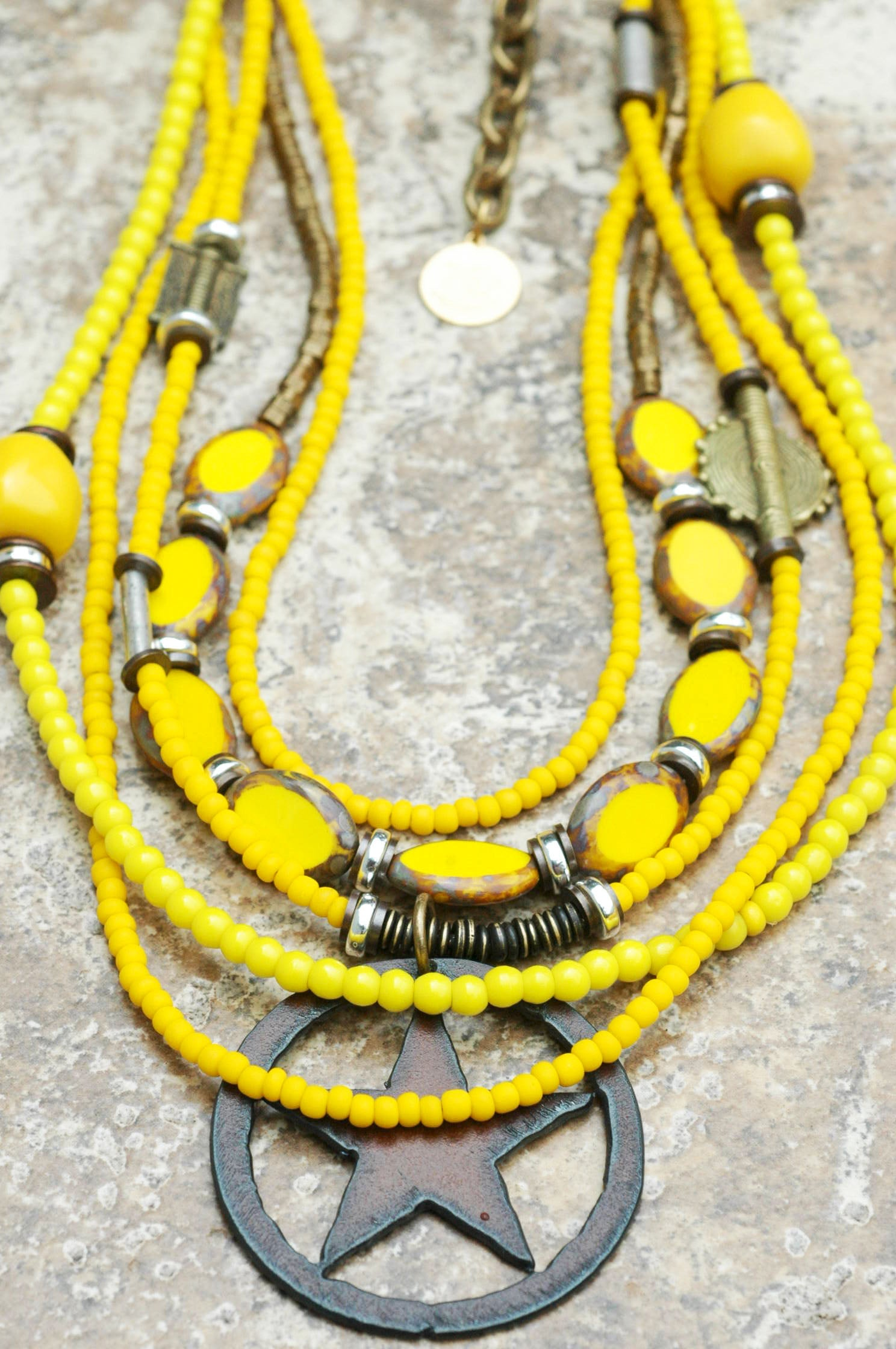 Yellow Western Star Necklace: Bright Happy Multi-Strand Yellow Glass and Iron Star Pendant Necklace $215