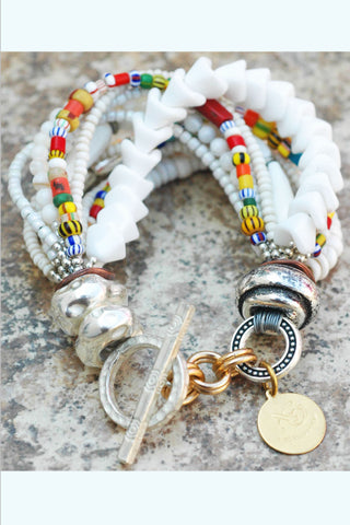 Summer White, Silver and Color Splash Everyday Boho Chic Bracelet
