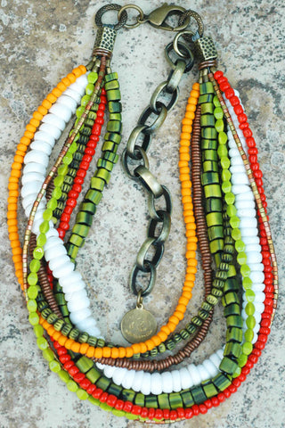 Fantastic Summer Inspired White, Orange and Green Choker Necklace