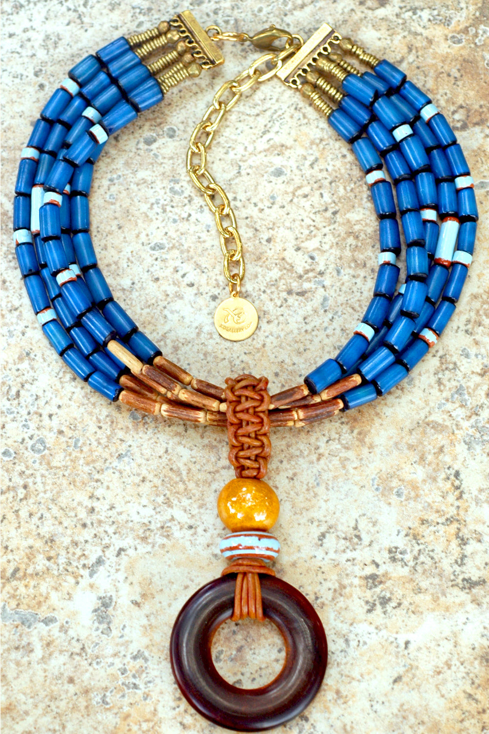 Island Inspired Blue Buri Seed, Bamboo, Leather & Horn Pendant Necklace