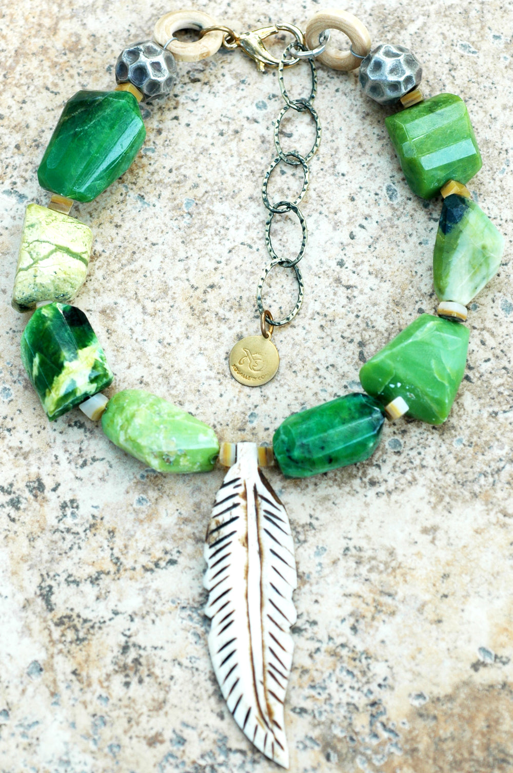 Bold and Exotic Green Serpentine Nuggets, Silver & Bone Feather Necklace