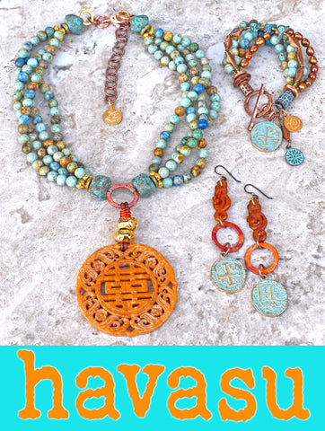 Stunning Mixed Blues, Amber and Copper Havasu Jewelry Collection