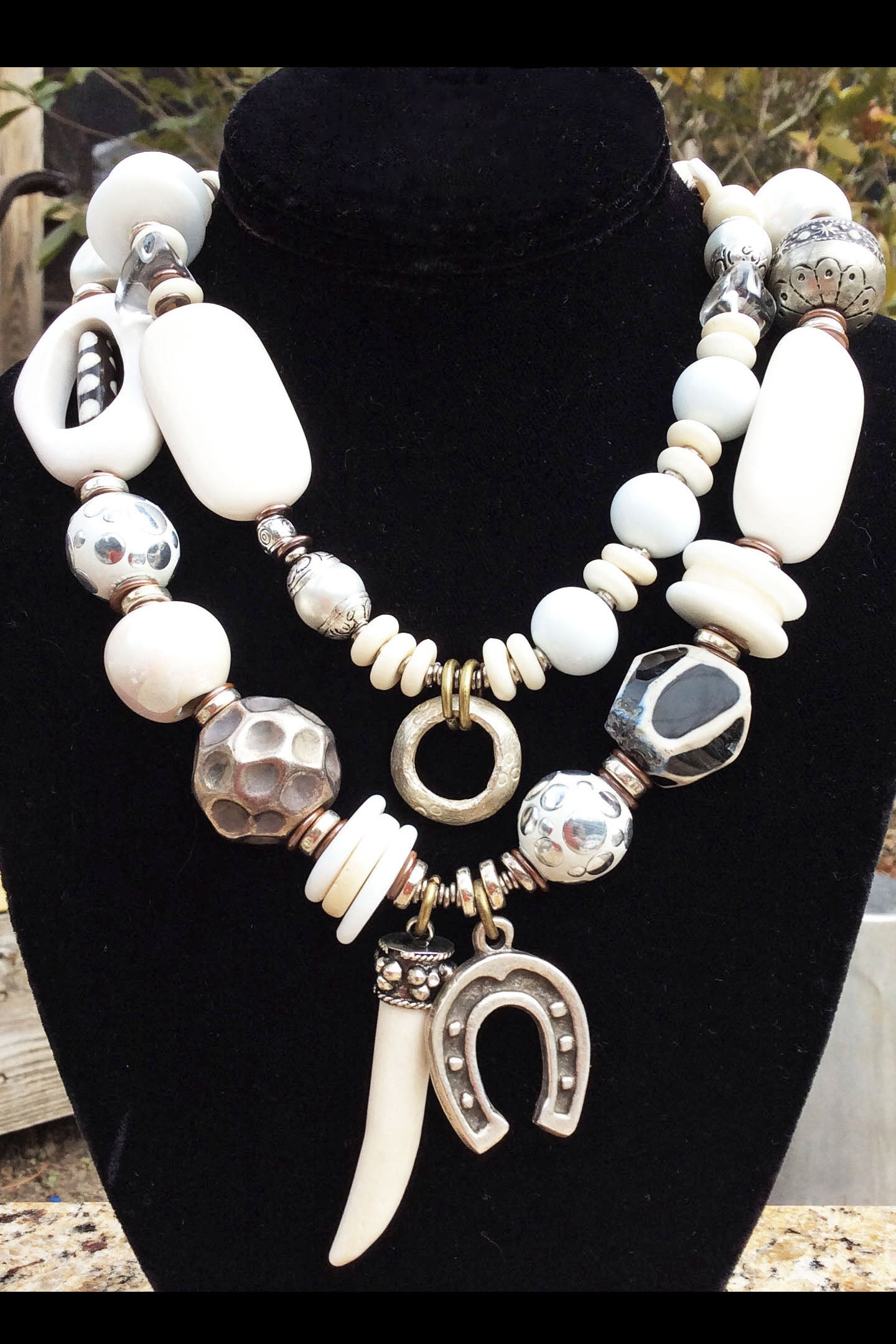 Commissioned Bold Funky Eclectic White and Silver Statement Necklace
