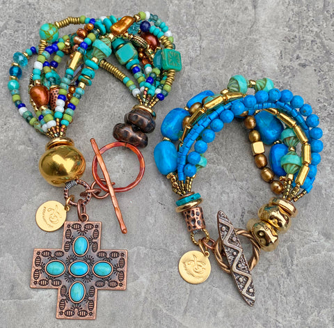 Stunning turquoise, blue, gold and copper cross mixed media statement bracelets