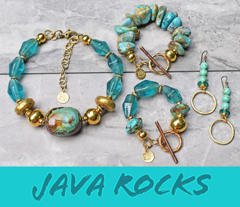 Hot off the Bench! NEW Breathtaking Turquoise, Aqua Glass and Gold Statement Jewelry