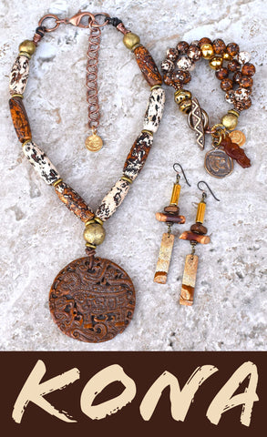 Rustic Brown and White Tibetan Agate, Brass, Gold, Wood and Jasper Exotic KONA Jewelry Collection