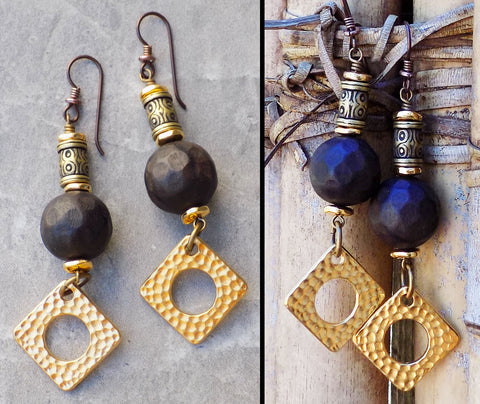 Custom Cute Elegant Carved Black Wood and Gold Earrings
