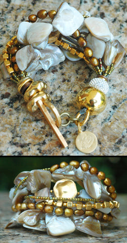 Holiday Inspired Champagne Pearl, Bronze & Gold Statement Bracelet