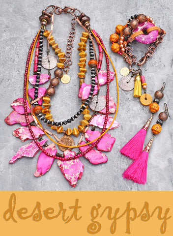 HOT off the Bench!! Striking and Bold Pink, Yellow and Copper Desert Gypsy Jewelry Collection!
