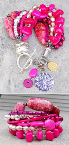 Beautiful and Bold Custom Pink and Silver Statement Charm Bracelet