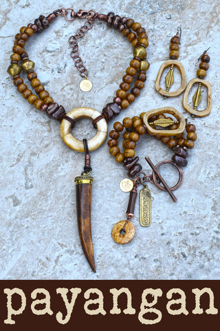 NEW Payangan BALI Jewelry Collection ~ Natural White and Batik Brown Ox Bone Island Tribal Fabulous for FALL Jewelry Collection