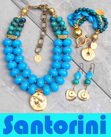 Stunning Blue & Gold Summer Statement Jewelry Collection